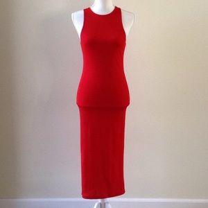 Red midi top shop dress